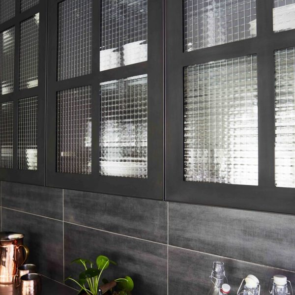 Glass Brick Modern Farmhouse Kitchen