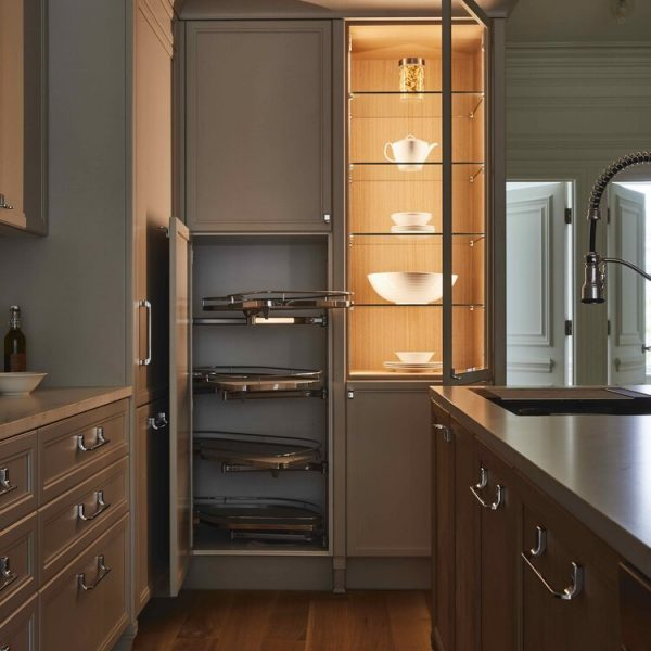 Lighted dish cabinet Brooklyn brownstone kitchen