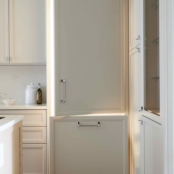 Brooklyn brownstone kitchen - refrigerator with matching cabinet facing