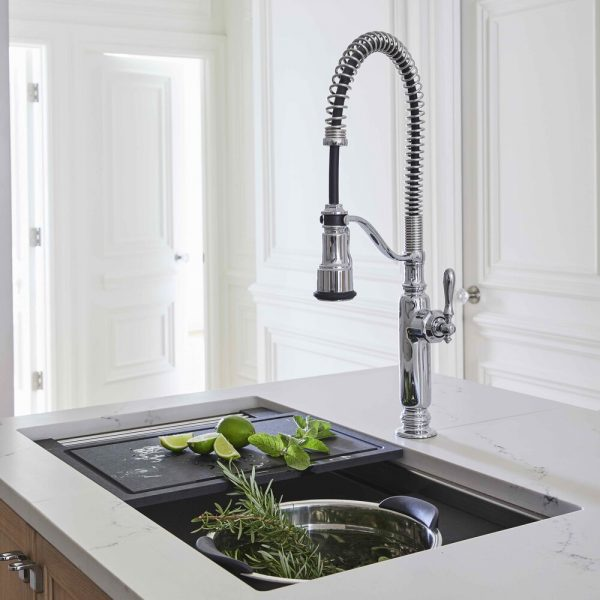 Brooklyn brownstone kitchen - kitchen island sink & cutting board