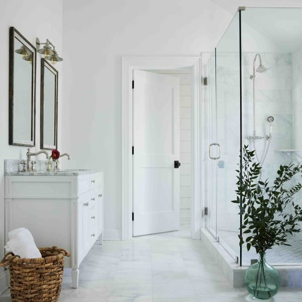 French Country Home by Cabinet Plant - bathroom & glass shower