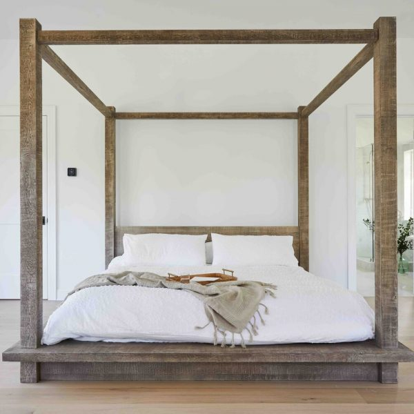 French Country Home by Cabinet Plant - rustic 4 poster bed