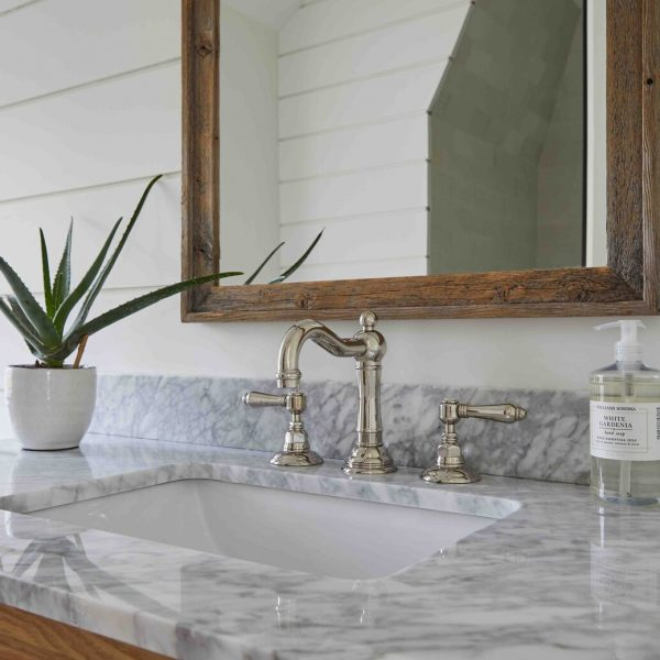 French Country Home by Cabinet Plant - bathroom sink detail