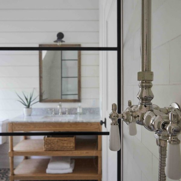 French Country Home by Cabinet Plant - bathroom faucet detail