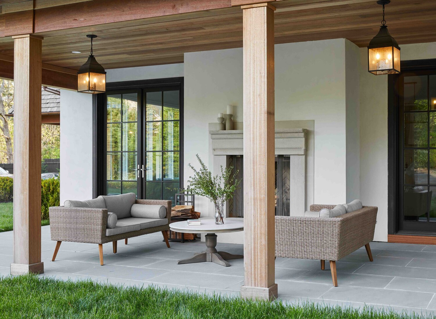 French Country Home by Cabinet Plant - poolside patio