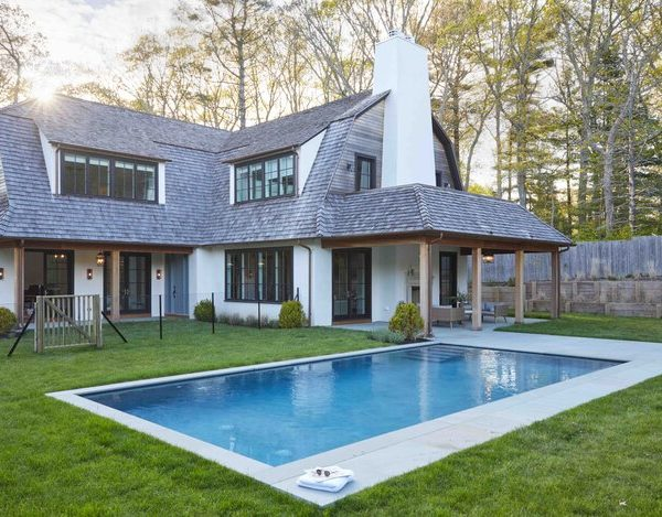Pool Area French Country home by Cabinet Plant