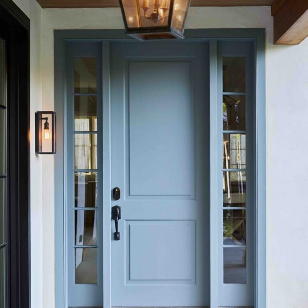 French Country Home by Cabinet Plant - entrance lighting & bluestone flagging